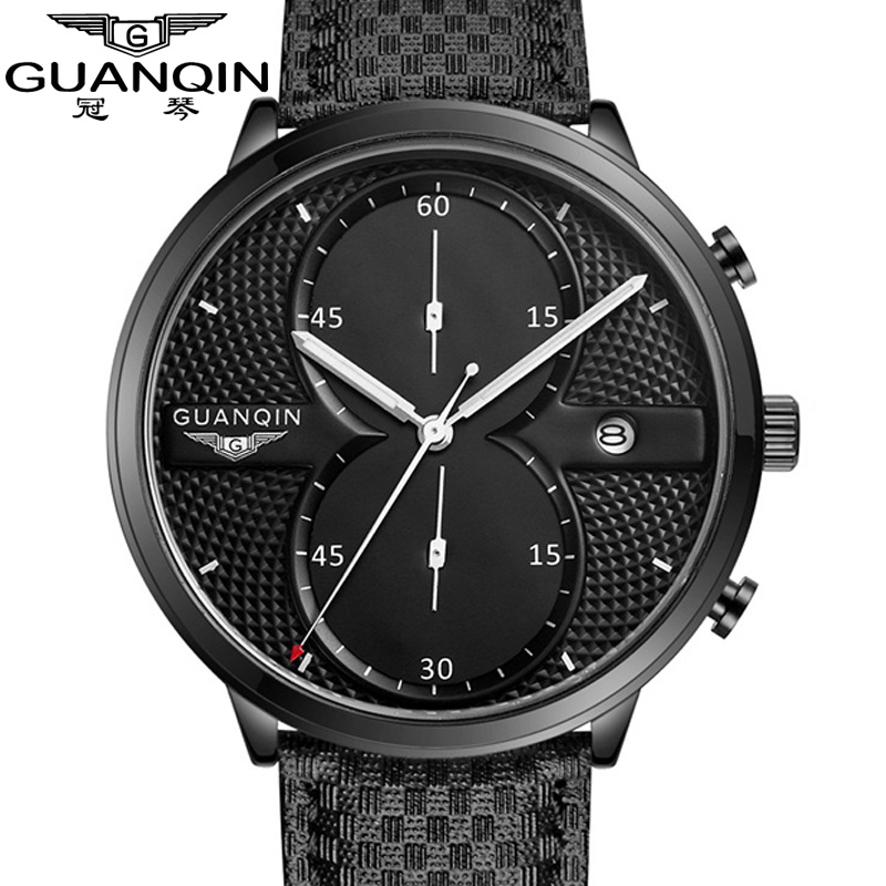 Mens Watches montre homme Top Brand Luxury GUANQIN Men Military Sport Luminous Wristwatch Leather Quartz Watch relogio masculino 2017 mens watches top brand luxury julius boy male business waterproof wristwatch date quartz watch men relogio montre homme