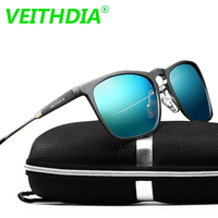 2016 Mens Square Retro Aluminum Mirrored Sunglasses Polarized Vintage Eyewear Accessories Sun Glasses Blue Lens 6368