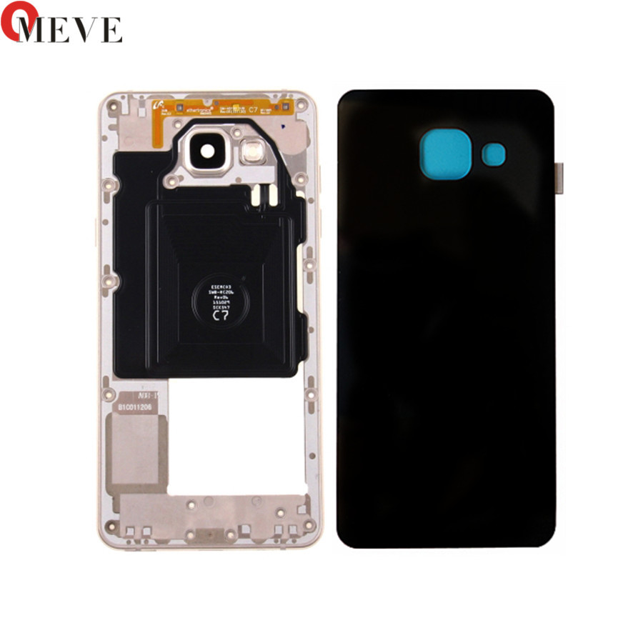 For <font><b>Samsung</b></font> Galaxy A3 A5 A7 2016 A310F <font><b>A510F</b></font> A710F Housing Metal Middle Frame Plate +Back Glass Battery Cover image