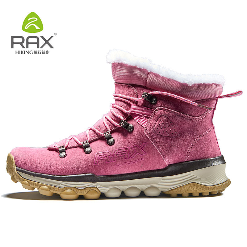 Rax Womens Waterproof Suede Leather Warm Hiking Shoes with Fur Lined Winter Snow Boots Antiskid Cushioning Outdoor Shoes Women