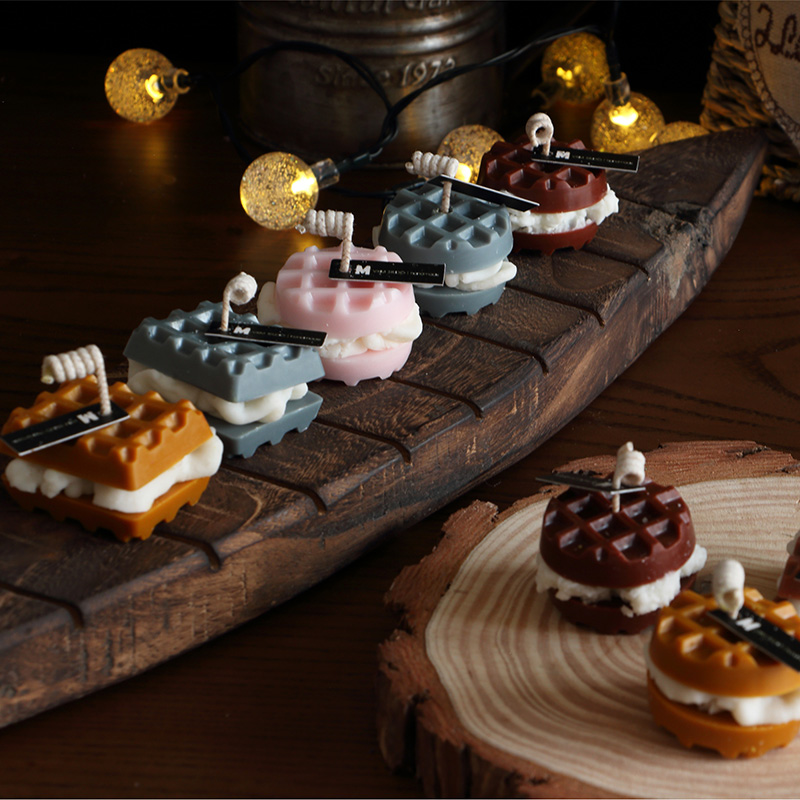 Waffle Cookies Silicone Candle Mold DIY Gypsum Plaster Crafts Mold Biscuits Chocolate Soap Silicon Molds For Candle Resin