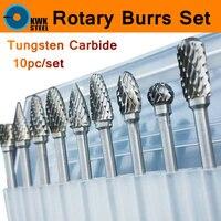 10pc 1 8 Shank Tungsten Carbide Milling Cutter Set Rotary Tool Burr Double Diamond Cut Dremel