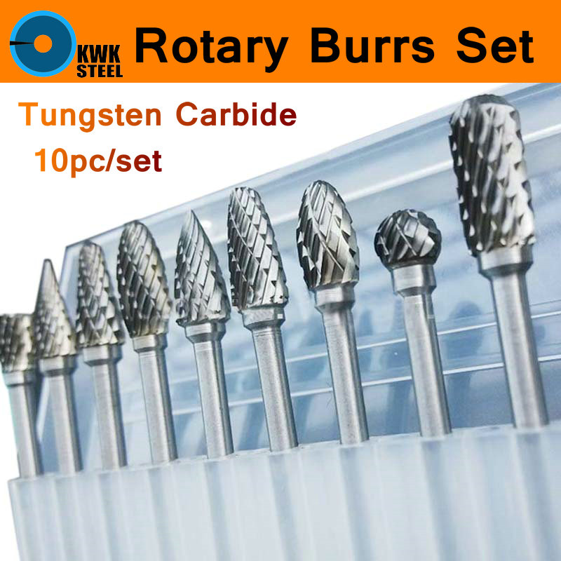 10pc 1/8 Shank Tungsten Carbide Milling Cutter Set Rotary Tool Burr Double Diamond Cut Dremel Tools Electric Grinding Engrave h type super quality 5pcs set different sizes single cut torch cylinder carbide rotary burr file 6mm shank