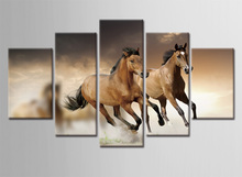 5 Piece Canvas Art Run Horse Frame Pictures Painting On  Home Decoration Wall Decor for Living Room
