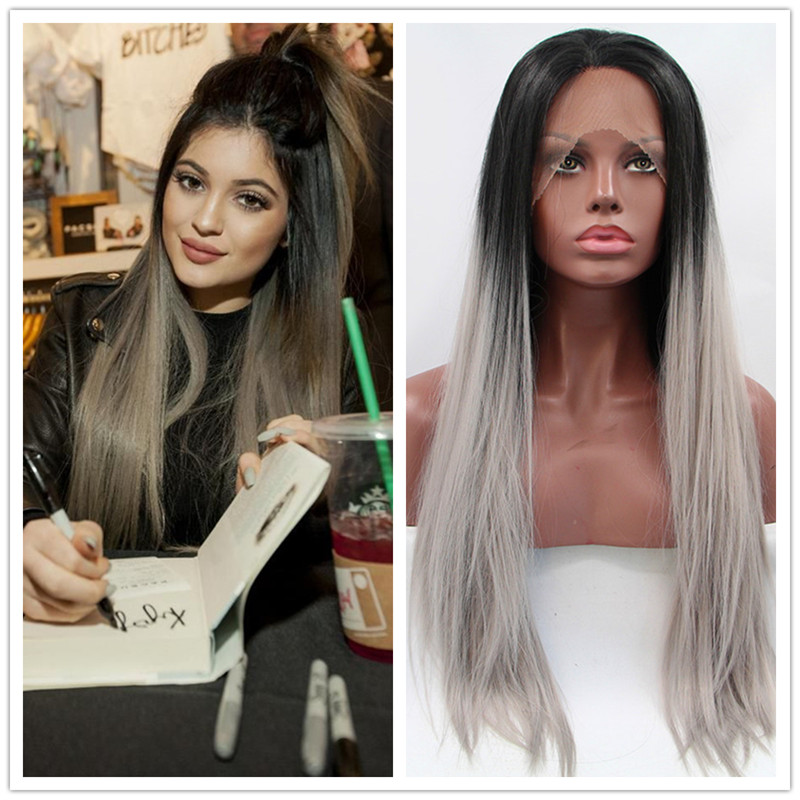 Kylie Jenner Hair Silk Straight Ombre Silver Grey Synthetic Lace