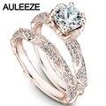 Flor Moissanites 1CT Wedding Sets 14 K Rose Anillos de Oro Única laboratorio Crecido Anillo de Diamante Anillo de Bodas Set Fine Art Deco joyería
