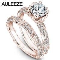 Flower Moissanites Wedding Sets 14K Rose Gold Rings Unique 1CT Lab Grown Diamond Ring Art Deco Wedding Ring Set Fine Jewelry