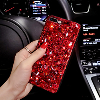 Red Bling Crystal Woman Handmade Rhinestone Diamond Gift Phone Cover Case For Google Pixel Pixel XL