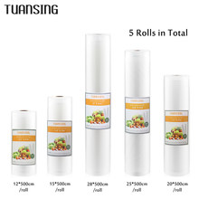 TUANSING 5 Rolls/Lot Kitchen Food Vacuum Bag Storage Bags for Vacuum Sealer Food Keep 12+15+20+25+28cm*500cm(China)