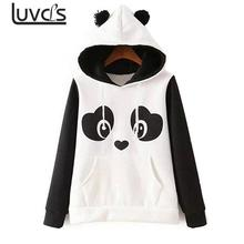 LUVCLS Winter Warm Panda Fleece Hoodie cute Pullover Jumper Hooded Pullover Coat New Fashion Cute soft Pullover Hoodies