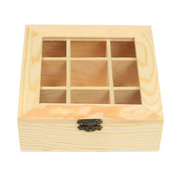 YHYS Wooden Tea Bag Jewelry Organizer Chest Storage Box 9 Compartments Tea Box Organizer Wood Sugar Packet Container