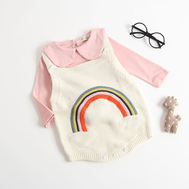 150eeb2c595 Cute Baby Knitting Romper Newborn Baby Girl Clothes Rainbow Patterned  Fashion Knitted Baby Romper Overalls Winter Romper for Boy