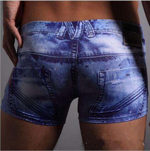2017 new ice silk comfortable inside bag design men underwear Jean print boxer shorts for man intimates clothing qt112