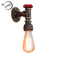 Art Deco Loft Industrial Iron Rust Water Pipe Retro Wall Lamp Vintage E27 Sconce Lights For