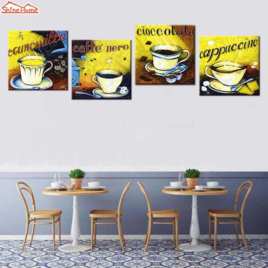 Shinehome 4pcs Wall Art Canvas Painting Printing Spa Yoga: ShineHome 4pcs Retro Coffee Oil Paintings On Canvas Prints