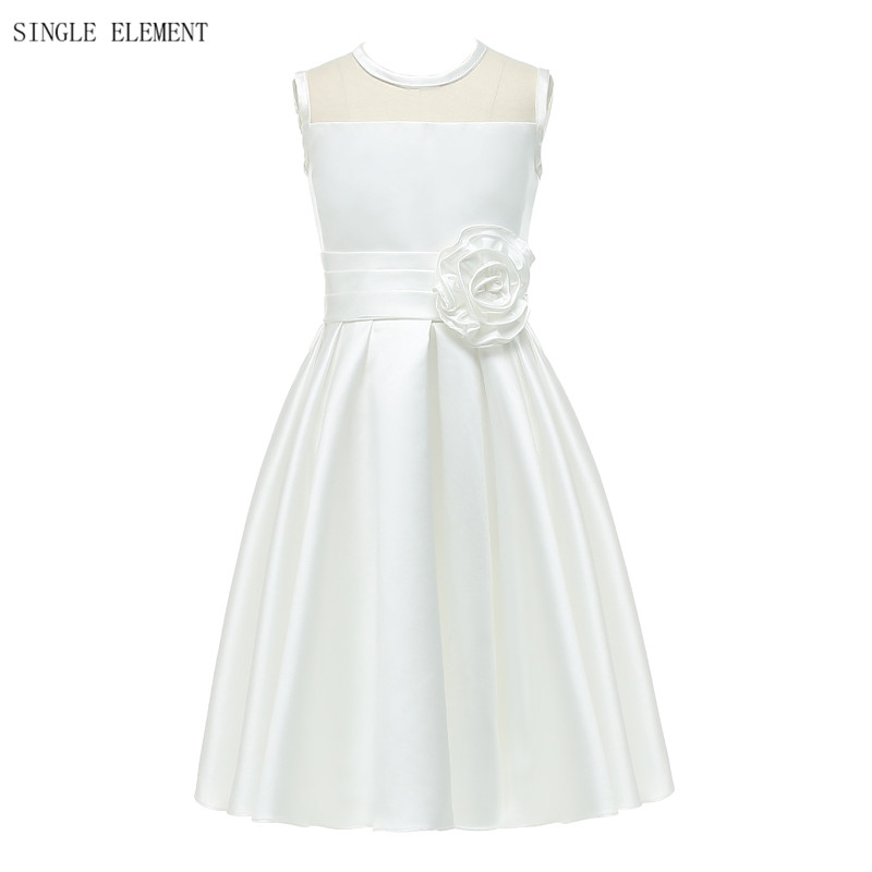 100% Real Photo Flower Girl Dresses Knee Length Baby Princess Girls Dress Wedding Party Dress Flowers Kids Gowns