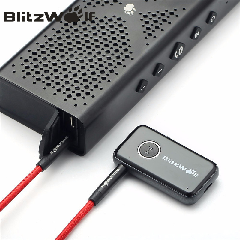BlitzWolf Bluetooth V4.1 Carro Handsfree Music Receiver 3.5mm AUX Adaptador De Áudio