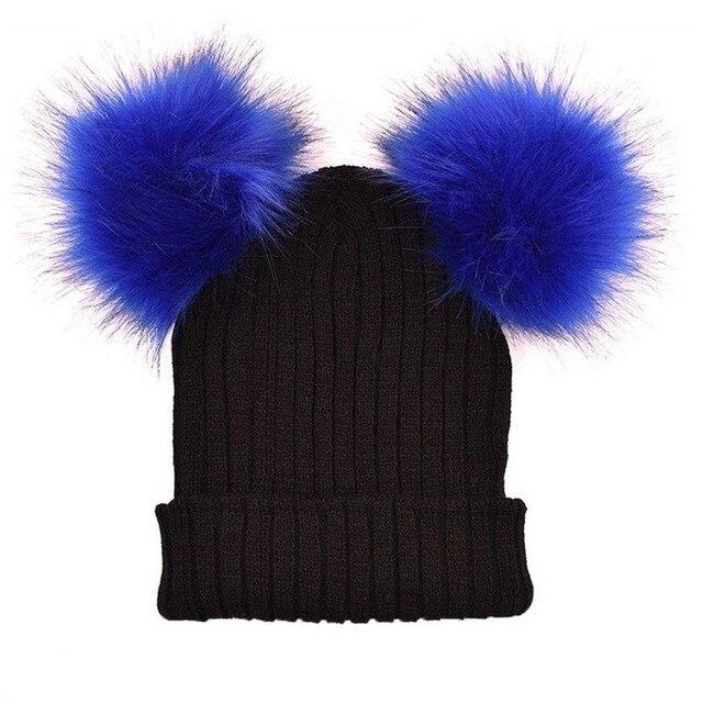 Winter Xmas Solid Color Knit Hat Crochet Wool Fur Pom Pom Women Knit Warm Knitting Hats Fashion Christmas Gift Outdoor Wear Hats