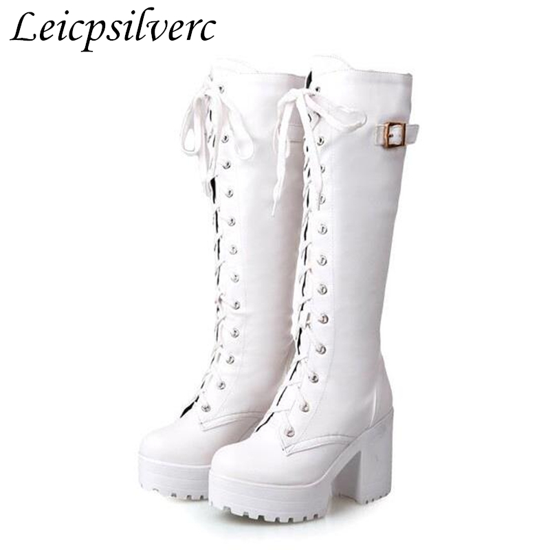 women boots autumn winter warm sexy new fashion lace-up pu knee-high motorcycle boots black white buckle high-heeled shoes