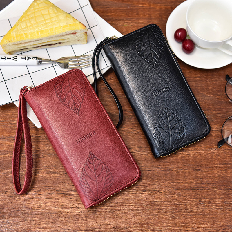 2018 Hot Vintage PU Leather Long Wallets Women Leaf embossing Zipper Wallets Portable Lady Cash Purse Card&Photo Holder ST009