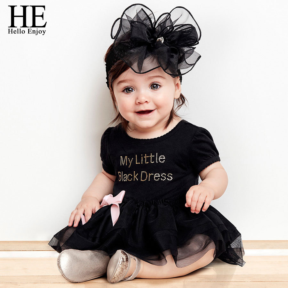 HE Hello Enjoy Baby girl dress wedding summer 2017 bodysuit baby girl clothes Letter short-sleeved black dress vestido infantil