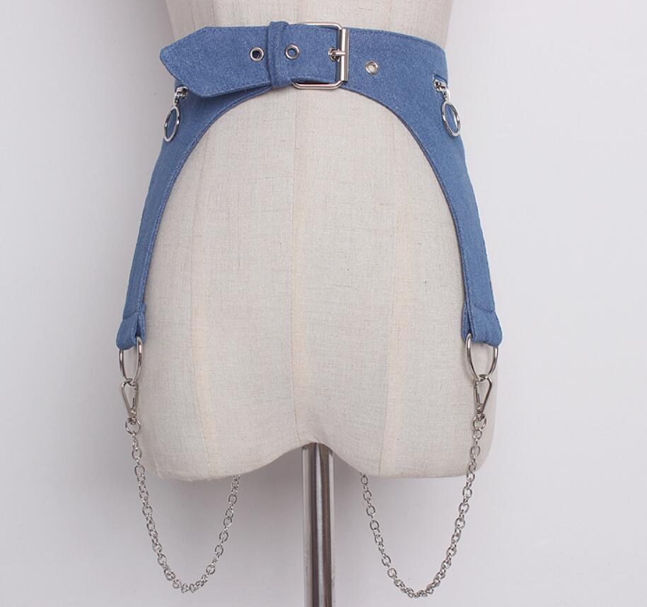 Women's Runway Fashion Vintage Denim Chain Cummerbunds Female Dress Corsets Waistband Belts Decoration Wide Belt R1423