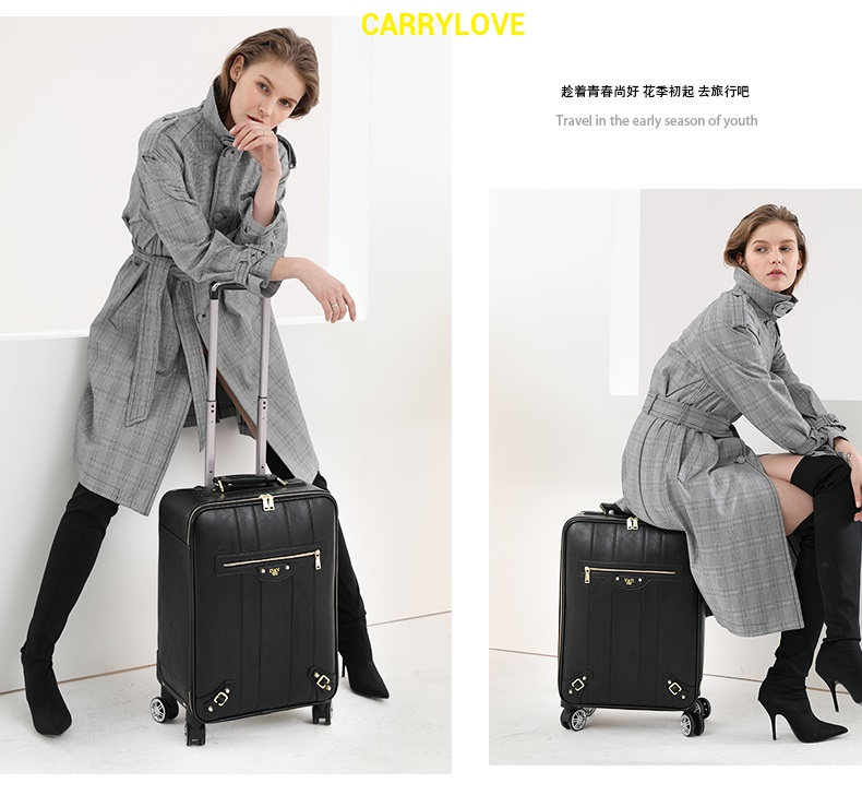 CARRYLOVE fashion series luggage 16/20/24 inch size The latest fashion PU Rolling Luggage Spinner brand Travel Suitcase цена