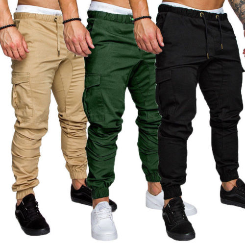 HIRIGIN Men Slim Fit Urban Straight Leg Casual Pencil Jogger Summer Cargo Long Pants