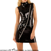 Black Sexy Sleeveless Latex Dress With Two Zipper Front And Back Rubber Bodycon Playsuit Plus Size LYQ 0088