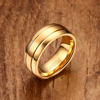 Fashion Mens Wedding Rings 8mm Gold Color Titanium Steel Double Groove Engagement Bands Ring Men Jewelry
