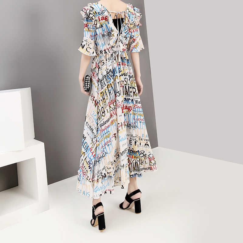Женское платье с рукавами-колоколами, белое длинное трапециевидное платье с V-образным вырезом и цветными буквами, повседневное платье в корейском стиле, модель 5297, 2019