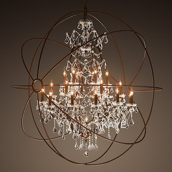 Modern Vintage Orb Crystal Chandelier Lighting Rustic Candle Chandeliers LED Pendant Hanging Light for Home Hotel Decoration