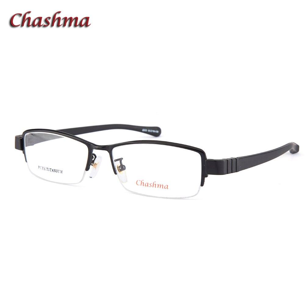 Chashma marque Designer lunettes Top qualité titane plaque cadre en caoutchouc Temple Style affaires hommes lunettes Semi Rimme cadre 55