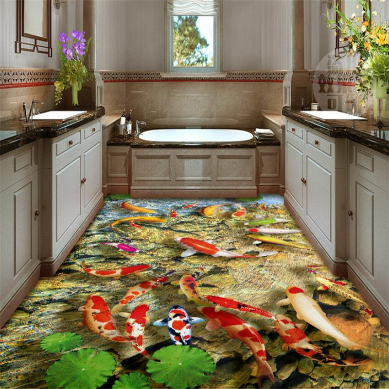 Beibehang On the ground wall murals wallpaper lotus carp carpets living room floor HD self-adhesive 3d flooring papel de parede  beibehang summer beach floor floor murals wall stickers 3d wallpaper for living room pvc floor self adhesive papel de parede 3d