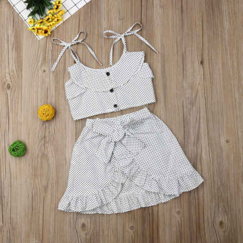 2Pcs Kids Baby Girl Floral Tops T-shirt Ruffle Bow Skirt Dress Shining fashion Comfortable Outfits Clothes