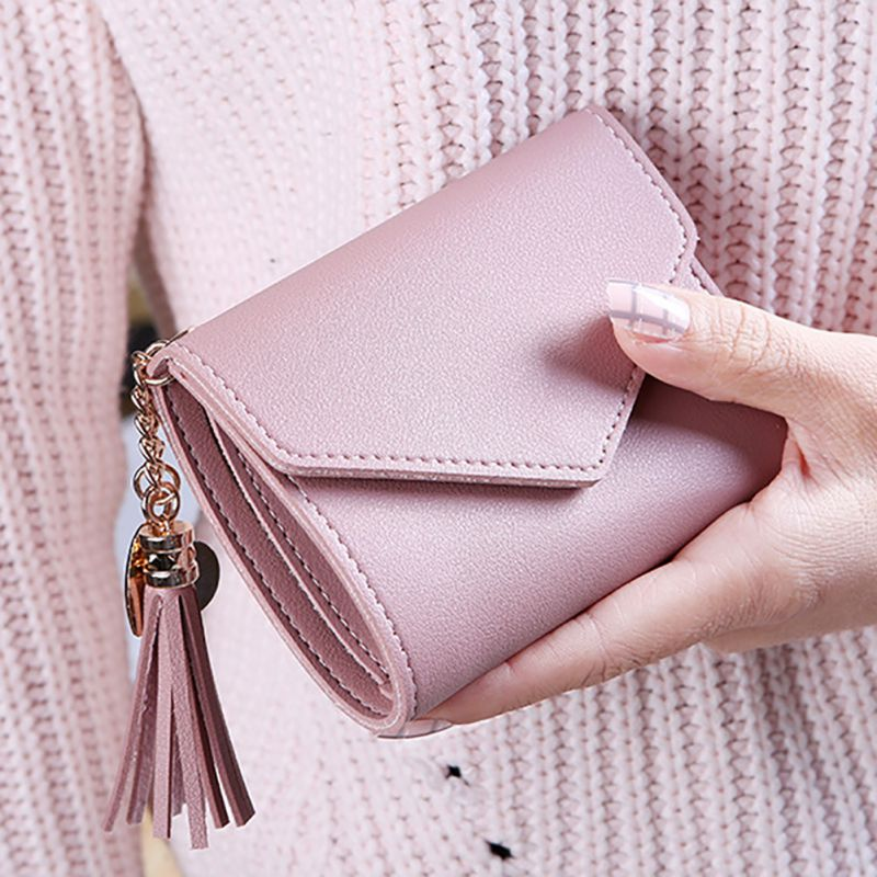 Short Women Wallets Tassel Fashion Coin Purse Card Holder Wallets High Quality Mini Money Bag PU Leather Wallet Cartera Mujer