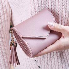 Купить с кэшбэком Short Women Wallets Tassel Fashion Coin Purse Card Holder Wallets High Quality Mini Money Bag PU Leather Wallet cartera mujer