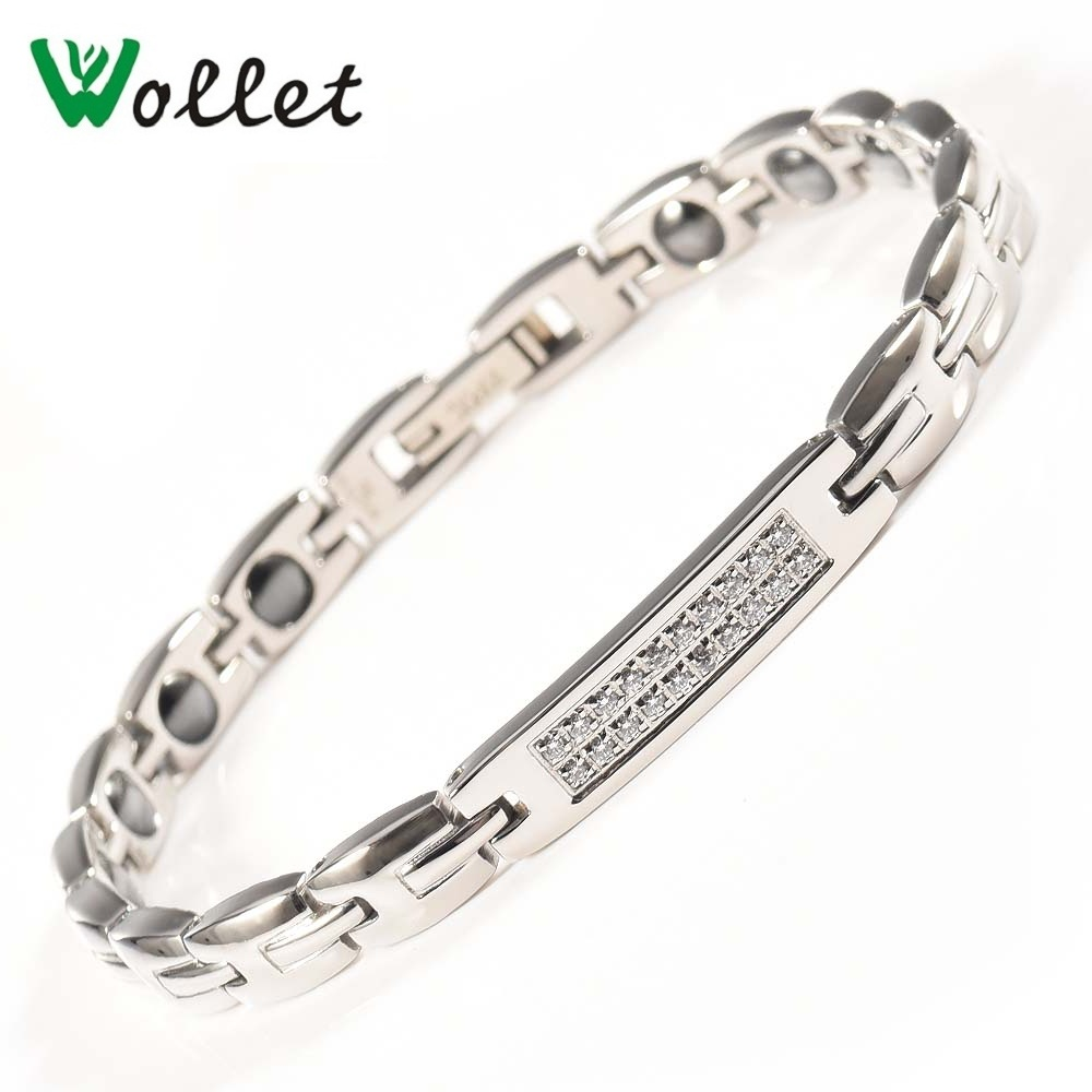 все цены на Wollet Jewelry Titanium Magnetic Bracelet CZ Stone for Women Healing Energy Hematite Germanium Health No Plating