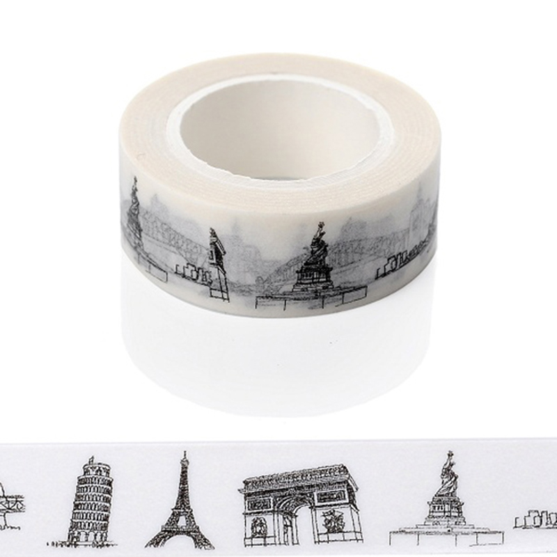 1 PC New Sketched Paris Eiffel Tower Japanese Washi Tape Office Adhesive Tape Adesivo 15mm*10m