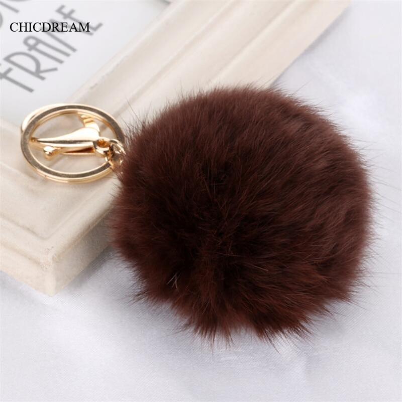 Handväska Charm Real 8 cm Kaninpälsboll Nyckelring Blå Röd Furry Ball Nyckelringar Populära Fuzzy Ball Nyckelring Bag Charms For Women