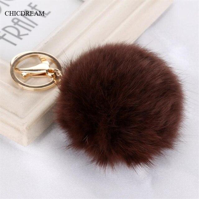 Handbag Charm Real 8 cm Rabbit Fur Ball Keychain Blue Red Furry Ball  Keychains Popular Fuzzy 01c9f7a3fcd19