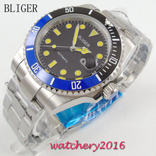 40mm Bliger black Dial ceramic bezel Date Adjust Deployment Yellow Marks Miyota Sapphire Glass Automatic Movement Men's Watch