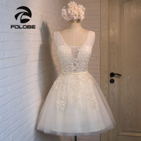 FOLOBE Vintage New Light Champagne Lace Dreses Girls Pearls Tulle Short Women Dress Formal Dresses Party Dress