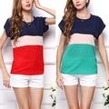 Women Fashion T-Shirt Stripe Splicing Color Short Sleeve Loose Tops Shirt New Arrival Fast Ship