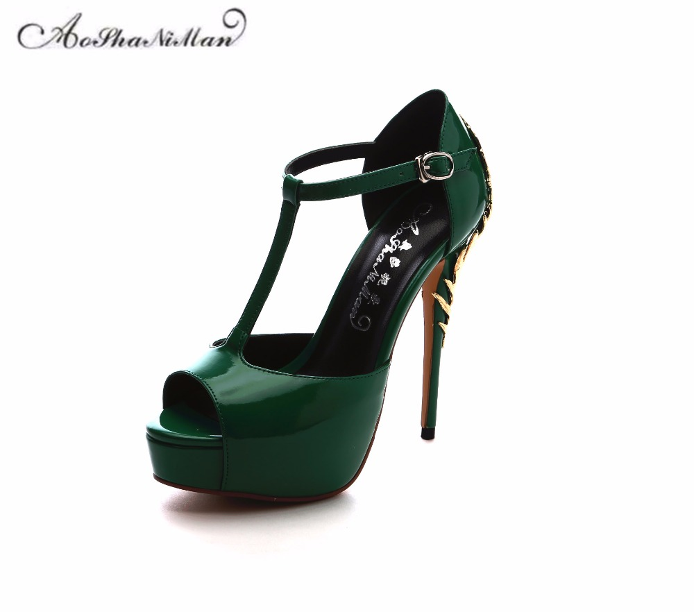 2018 summer Newest 100% real leather sandals women Fashion T-strap platform pop toe pumps patent leather sexy party high heels stylish women s pumps with patent leather and t strap design