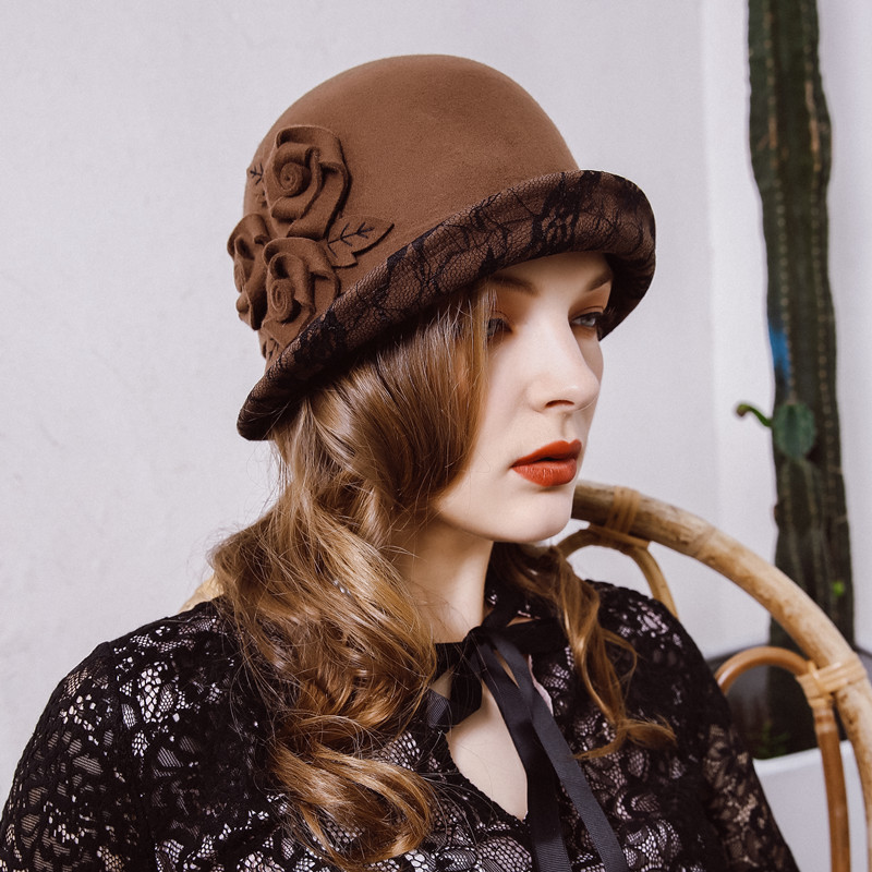 3329191c609c7f Beckyruiwu Noble Lady Vintage Cloche Hats Women Party Cocktail Wedding  Grace 100% Wool Felt Hats-in Fedoras from Apparel Accessories on  Aliexpress.com ...