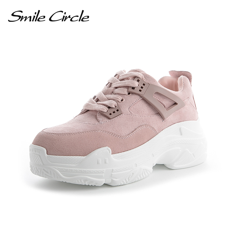 Smile Circle Spring Autumn Women Shoes Suede Leather Sneakers Fashion Lace up Flat Platform Shoes Warm