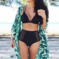 High Waist Bikini Women Swimwear Push Up Swimsuit Hollow Out Biquini Sexy Brazilian Bikini Set Black
