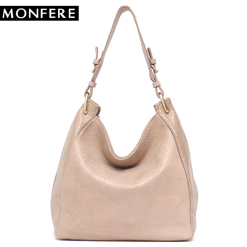 MONFERE Leather Bag Women Shoulder Bag Snake Print Hobo Bags Female High Quality Leather Large Soft Girl Messenger Bags Handbag недорого