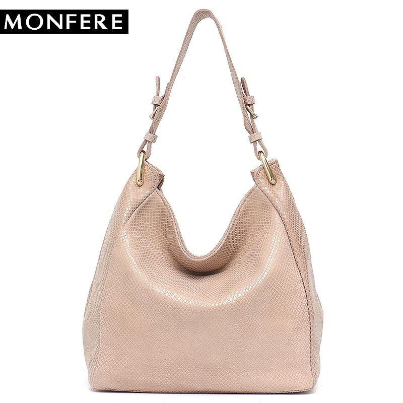 MONFERE Leather Bag Women Shoulder Bag Snake Print Hobo Bags Female High Quality Leather Large Soft Girl Messenger Bags Handbag